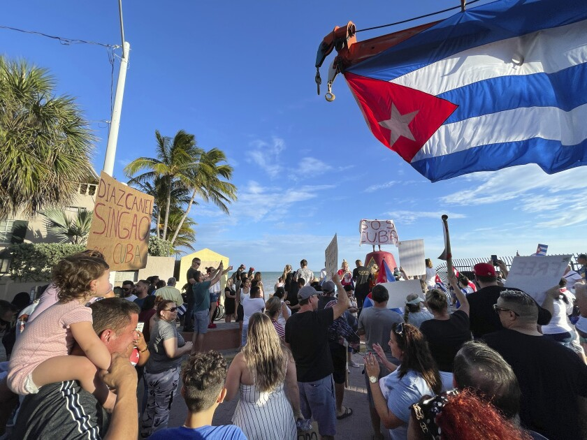 Roughly two hundred supporters of recent protests in Cuba gather at the Southernmost Point buoy in Key West