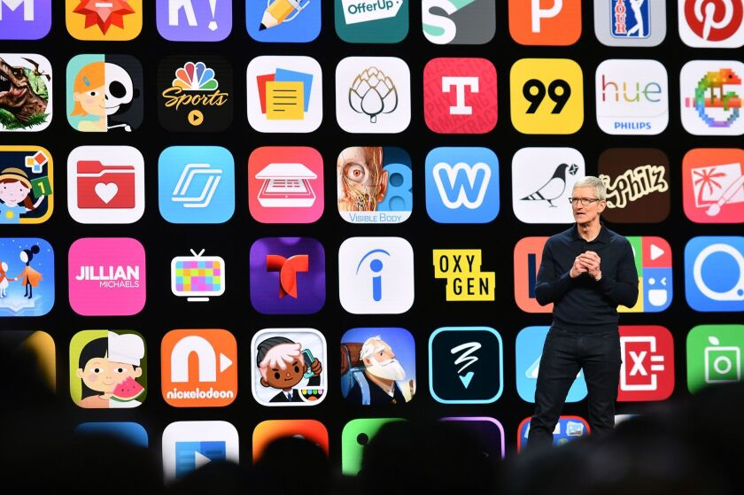 Apple CEO Tim Cook speaks at Apple's Worldwide Developer Conference (WWDC) at the San Jose Convention Centerin San Jose, California on Monday, June 4, 2018.