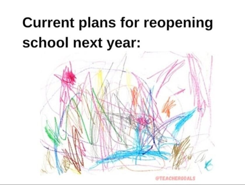 """The mentioned meme of a child's scribbled artwork. Title """"Current plans for reopening school next year."""""""