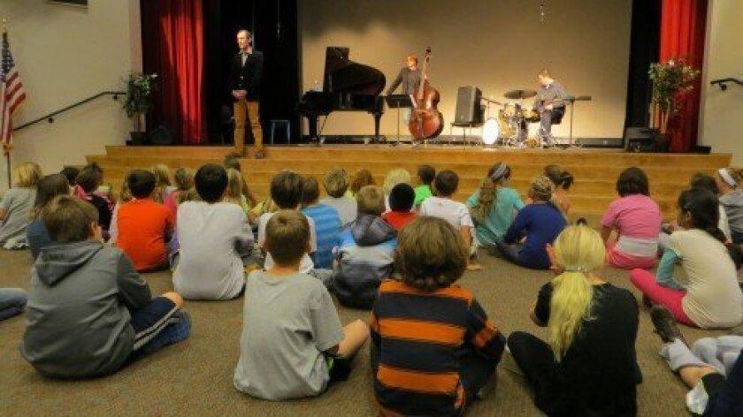 The Jesse Lynch Trio at R. Roger Rowe School. Courtesy photo