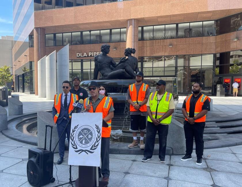 Abdur-Rahim Hameed, founder of the Black Contractors Association of San Diego, speaks in front of SANDAG headquarters.