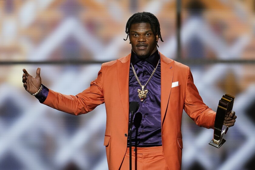 Baltimore's Lamar Jackson speaks after winning the Associated Press MVP award at the NFL Honors show Feb. 1, 2020.