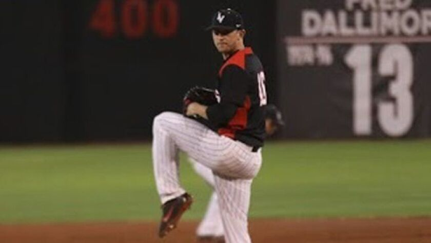 "UNLV senior Alan Strong says Rebels pitching coach Greg Maddux ""has been a big influence on me."""