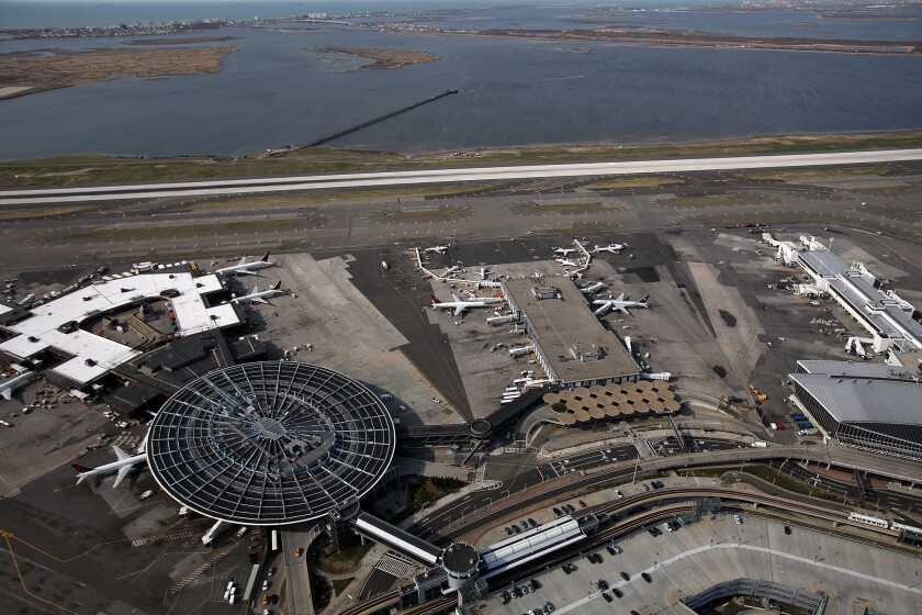 An aerial view of John F. Kennedy Airport.