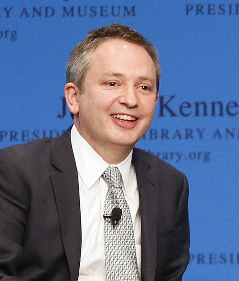 David Barron takes part in a forum at the John F. Kennedy Library in Boston in May 2013.