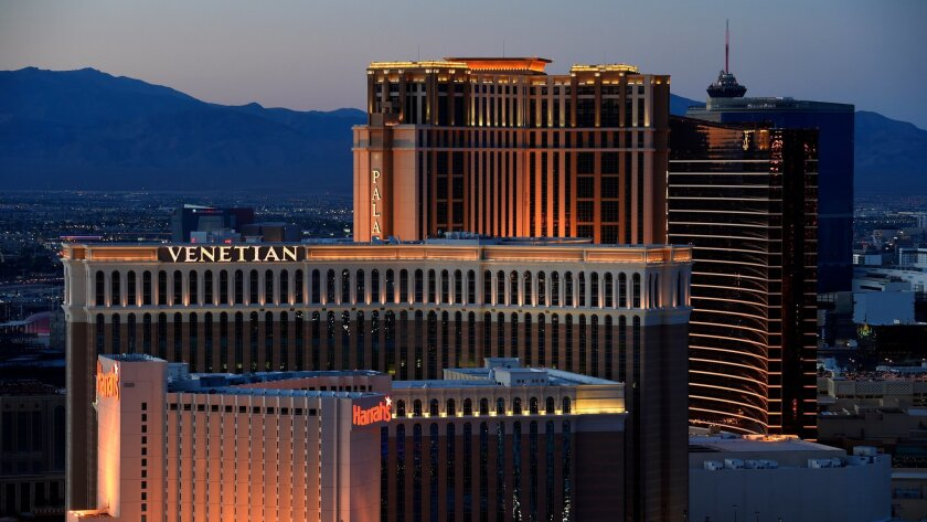 This is a view of the Strip as seen from the Eiffel Tower replica at Paris Las Vegas Saturday, Augus