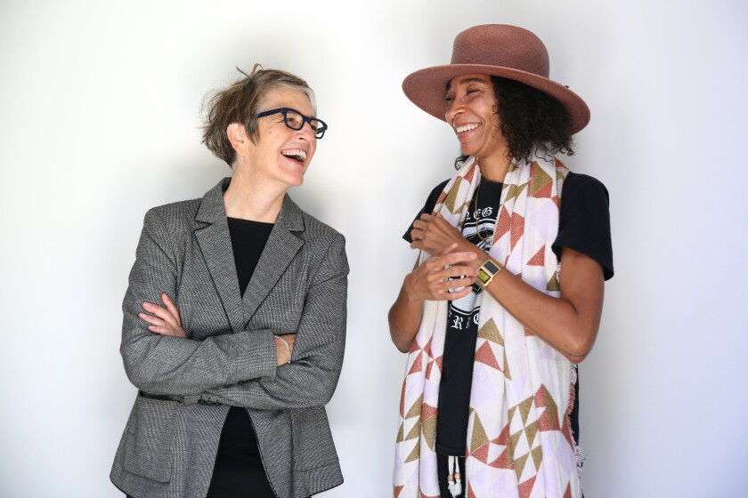 Curator Kimberli Meyer and lartist auren woods