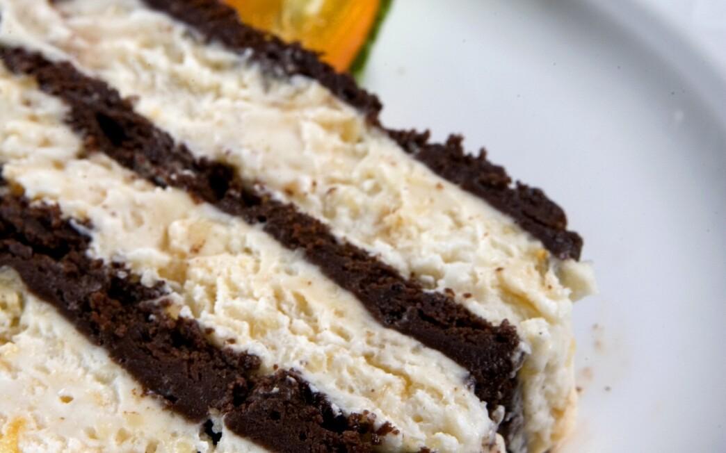 Chocolate cake with hazelnut semifreddo