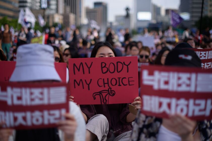 Demonstrators in Seoul protest South Korea's abortion laws in July 2018.