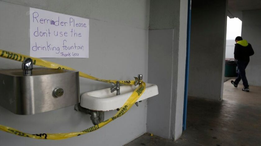 Water fountains and faucets were shut off earlier this year at La Mirada School in San Ysidro after a lead scare stemming from aging plumbing.