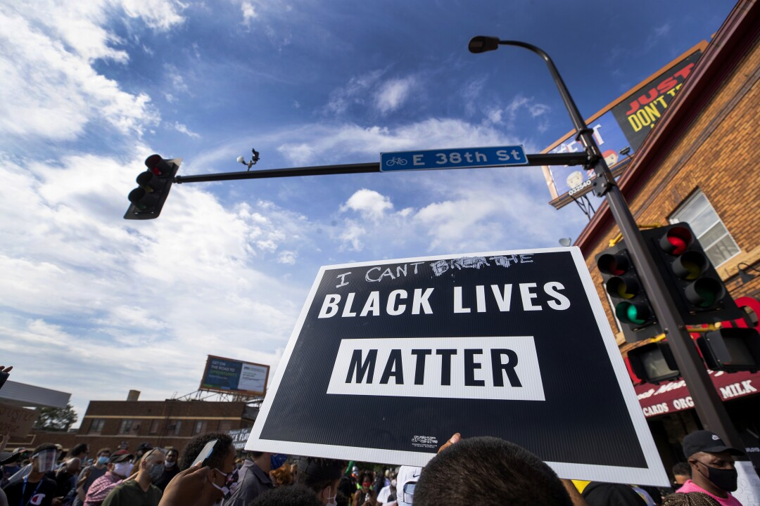 Protesters in Minneapolis call for justice for George Floyd.