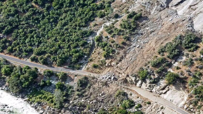A massive rock slide occurred Monday at part of El Portal Road, closing a major route into the park.