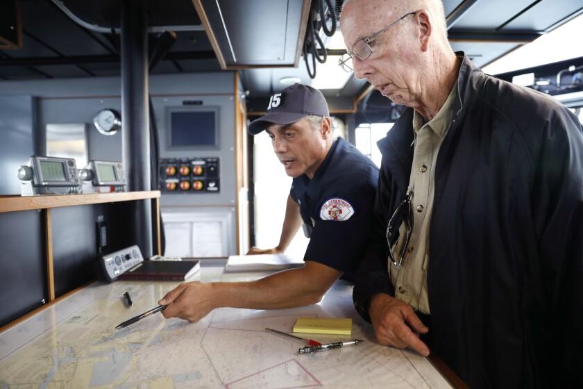 LONG BEACH-CA-OCTOBER 3, 2018: Abraham Chira, a fire boat pilot with the Long Beach Fire Department,