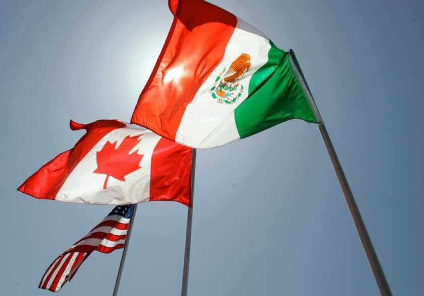 Flags of United States, Canada and Mexico