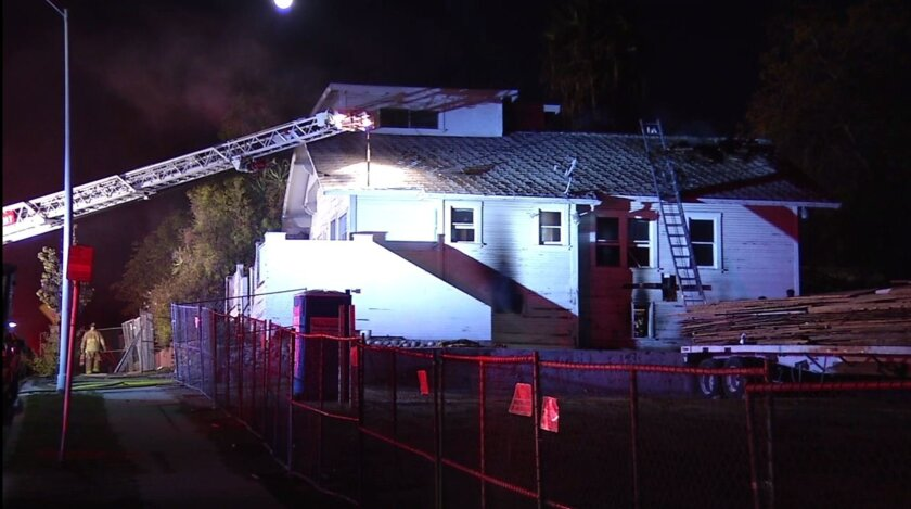 A fire possibly caused by transients broke out in a house on C Street in Golden Hill.