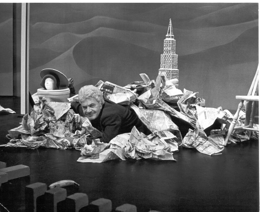 Comic Dick Shawn was known for audience pranks such as emerging from a pile of newspapers placed on stage before his show.
