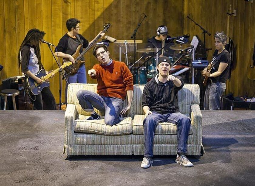 """Ryder Bach, left, plays Will, and Jason Hite is Mike in """"Girlfriend,"""" the story of gay teens who are just discovering their sexuality. The musical is based on the album of the same name by Matthew Sweet. The musical's book is by Todd Almond and is directed by Les Waters."""