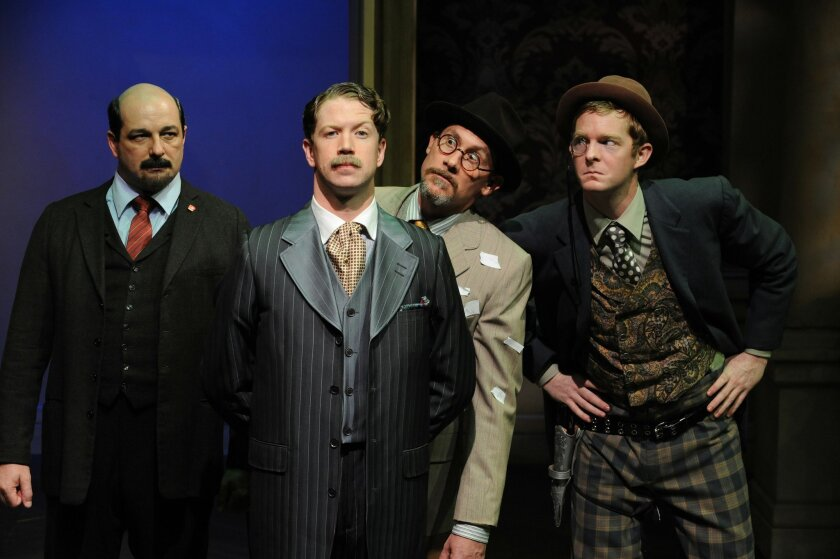 "Manny Fernandes, Jordan Miller, Patrick McBride and Brian Mackey (left to right) in ""Travesties."""