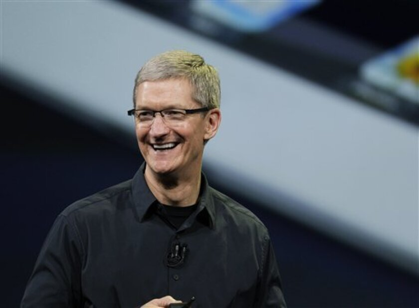 """FILE - In this Wednesday, March 7, 2012 photo, Apple CEO Tim Cook announces the new iPad in San Francisco. Apple CEO Tim Cook is calling a shareholder lawsuit against the company a """"silly sideshow,""""on Tuesday, Feb. 12, 2013, even as he said he is open to looking at the shareholder's proposals for s"""