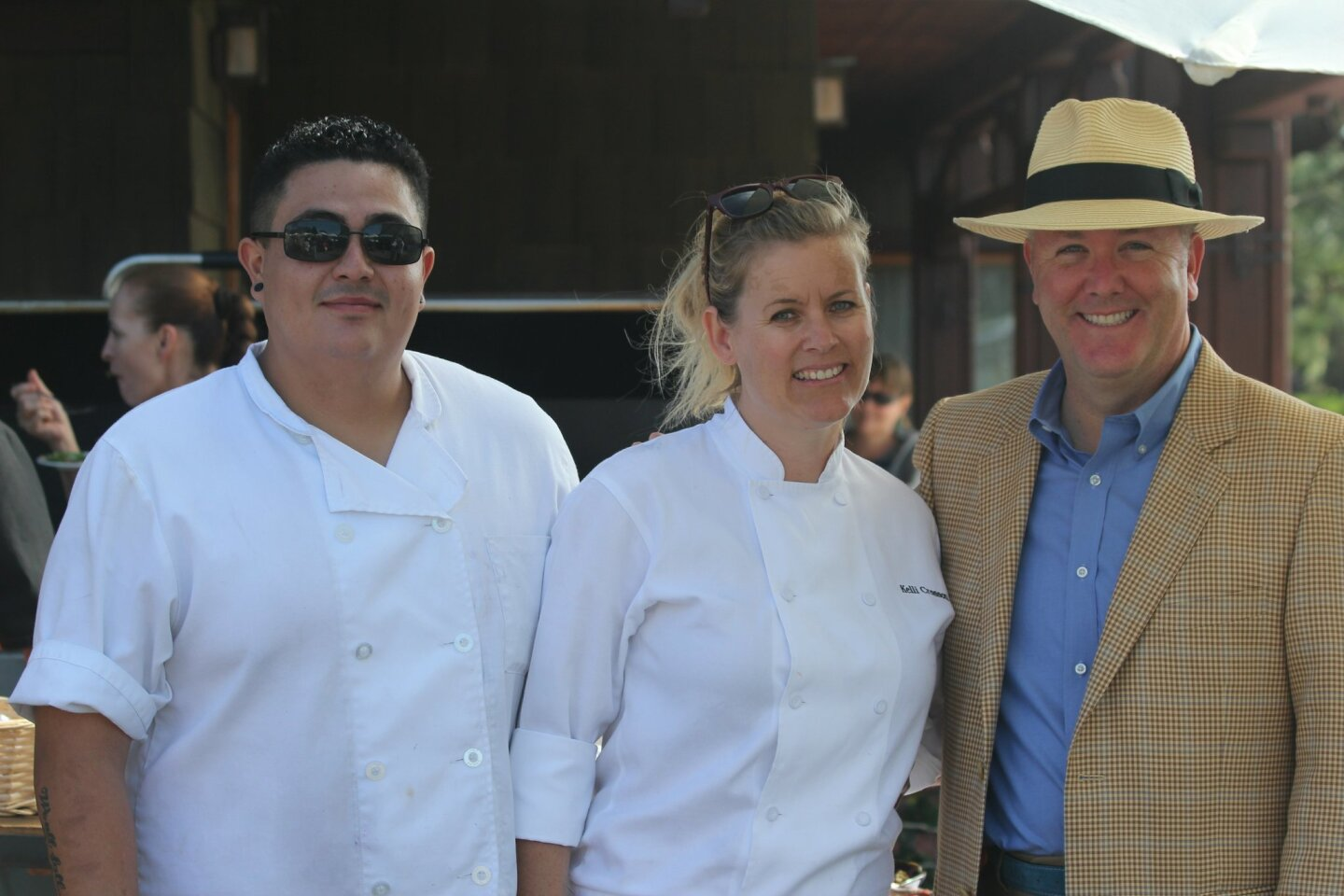 Sous Chef Izzy Sanchez of Leroy's Kitchen and Lounge in Coronado; Chef de Cuisine Kelli Crosson of A.R. Valentien at The Lodge at Torrey Pines; and Robert Gleason, president/CEO of Evans Hotels attend the 12th annual Celebrate the Craft food and wine festival, Oct. 12, 2014 at The Lodge at Torrey Pines in La Jolla.