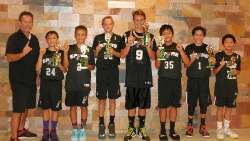 "Summer 2014 Carmel Valley Open Basketball League Champs:  ""CV Spurs"":  (Above, l-r) Coach Rob Jenkins, Jake Cabulio, Kasen Dickerson, Sean Reed, Holden Brosnan, Justin Lam, Alex Jenkins, Austin Lam."