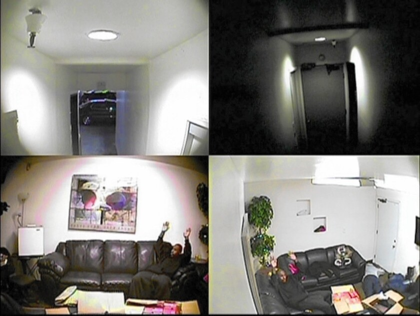 Images from surveillance videos filed in U.S. District Court in Los Angeles show defendants in an ATF stash-house robbery sting being arrested in February 2013.