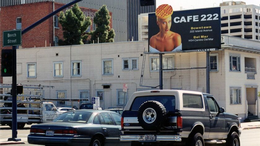 Billboard for Cafe 222 at Front and Beech, 1994. Courtesy photo from Terryl Gavre