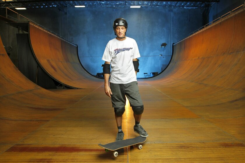 Skateboarding legend Tony Hawk at his private ramp in Vista.