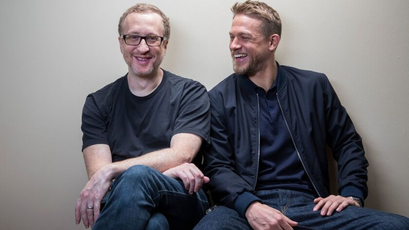 "Director James Gray, left, and actor Charlie Hunnam discuss ""The Lost City of Z."""