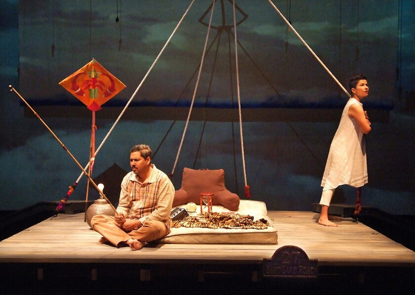 """A fanciful incarnation of the goddess Shiva (Monika Jolly, right) reunites with her father (Dileep Rao) for a cosmic quest of self-discovery in """"Shiv."""""""
