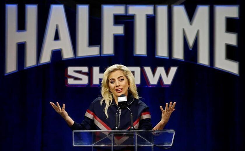 La cantante estadounidense Lady Gaga durante la rueda de prensa celebrada en el centro de Convenciones de George R. Brown en Houston, Texas, Estados Unidos. EFE