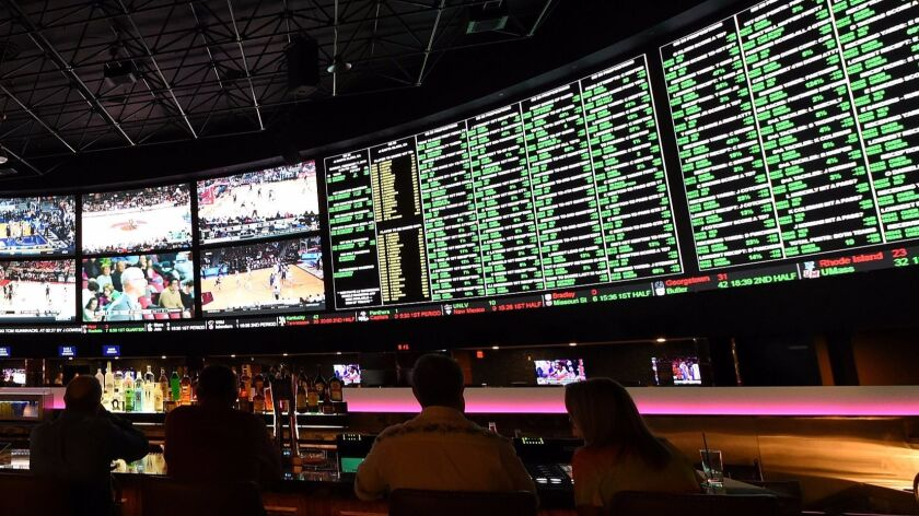 LAS VEGAS, NV - FEBRUARY 02: The betting line and some of the nearly 400 proposition bets for Super