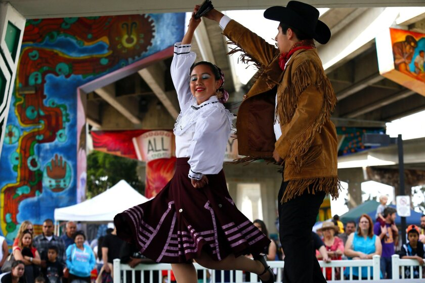 Dancers Paloma Sandoval and Juan Chavez perform at the Chicano Park Day celebration in 2014.