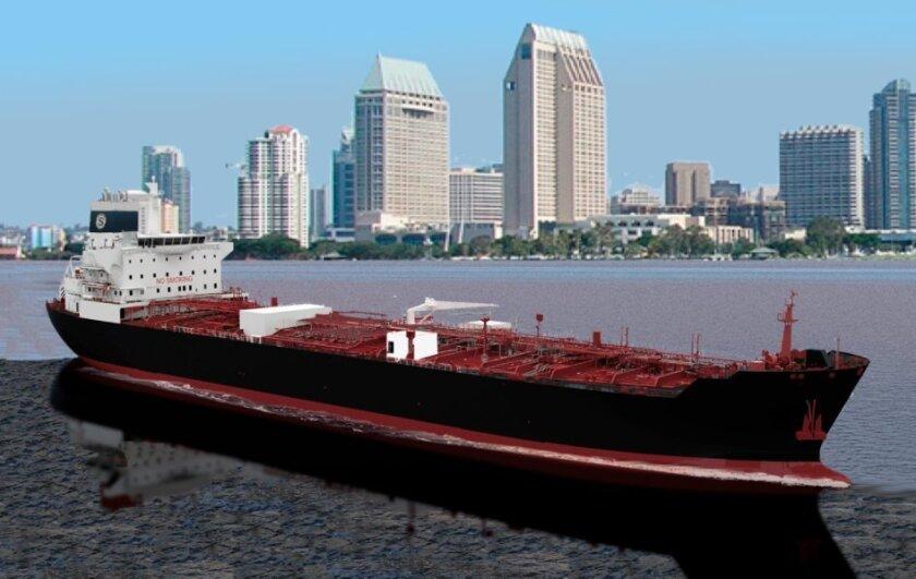 Artist's rendering of the 610-tanker that NASSCO will build for Seabulk Tankers.
