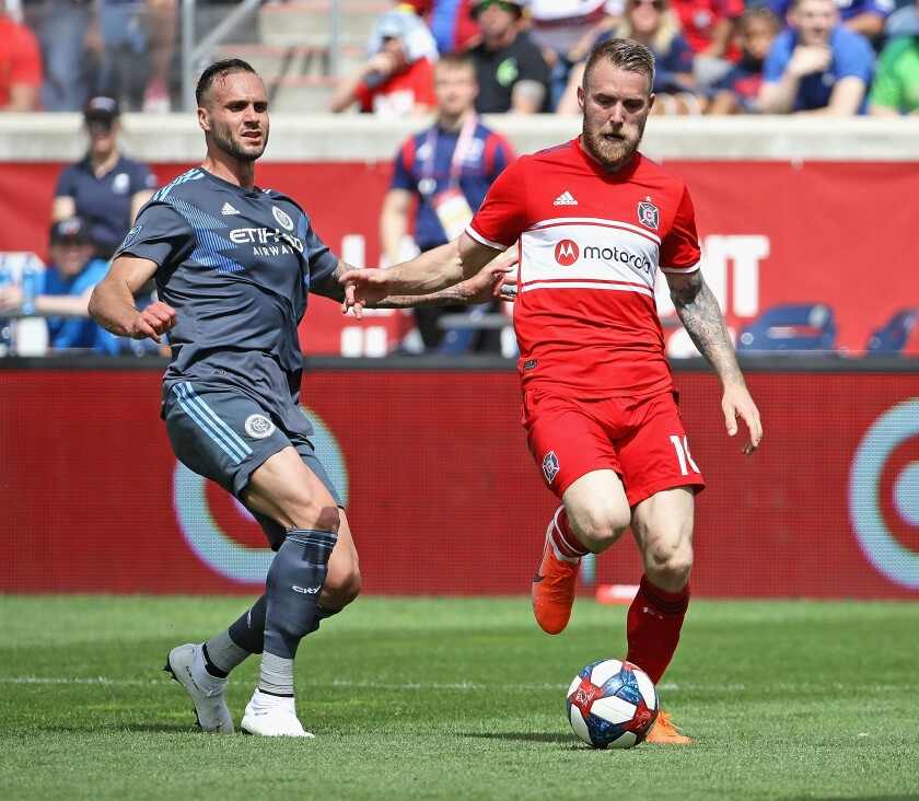 Aleksandar Katai, right, signed with the Galaxy on Dec. 31, 2019. He spent the last two seasons with the Chicago Fire.
