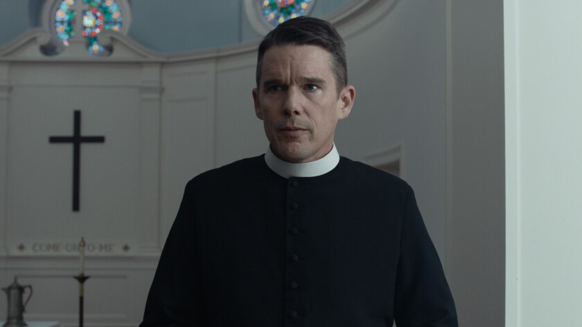 "Ethan Hawke in a scene from ""First Reformed."" Credit: A24"