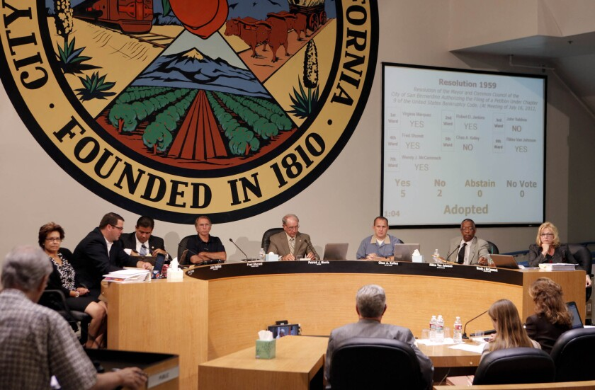 The San Bernardino City Council at its meeting on July 18, 2012, when it filed for bankruptcy protection.