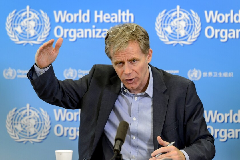 Bruce Aylward, World Health Organization assistant director-general, provides an update on the Ebola outbreak Oct. 29 at WHO headquarters in Geneva.