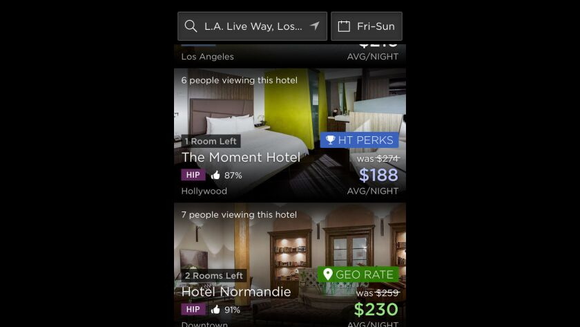 HotelTonight users at LA Live or the StubHub Center will see GeoRates when they open the app.