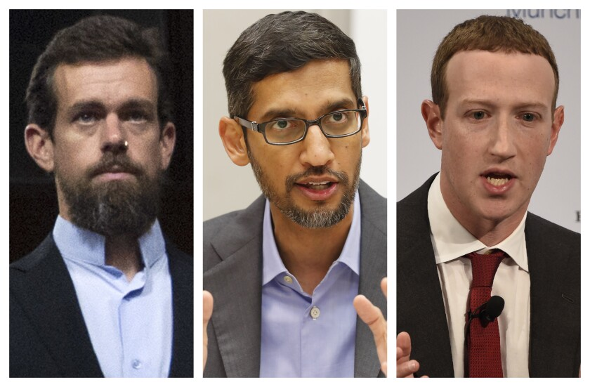 This combination of 2018-2020 photos shows, from left, Twitter CEO Jack Dorsey, Google CEO Sundar Pichai, and Facebook CEO Mark Zuckerberg. Less than a week before Election Day, the CEOs of Twitter, Facebook and Google are set to face a grilling by Republican senators who accuse the tech giants of anti-conservative bias. Democrats are trying to expand the discussion to include other issues such as the companies' heavy impact on local news. The Senate Commerce Committee has summoned Twitter CEO Jack Dorsey, Facebook's Mark Zuckerberg and Google's Sundar Pichai to testify for a hearing Wednesday. The executives have agreed to appear remotely after being threatened with subpoenas. (AP Photo/Jose Luis Magana, LM Otero, Jens Meyer)