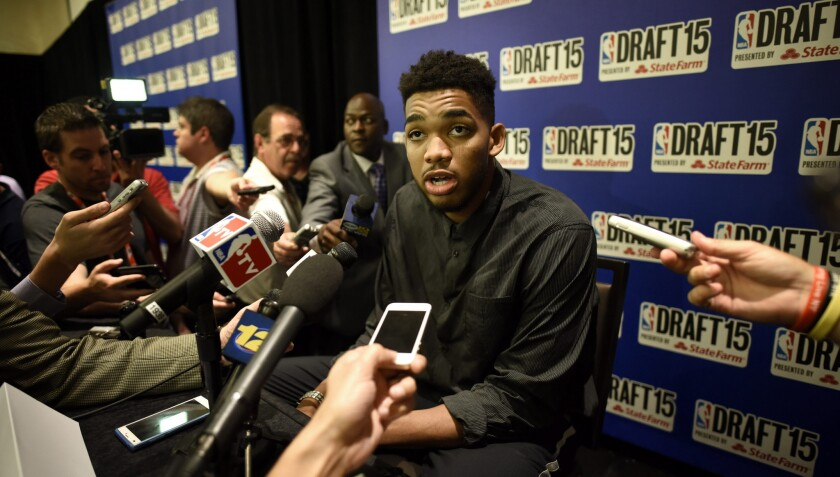 Karl-Anthony Towns speaks to reporters after being selected No. 1 overall in the 2015 NBA draft.