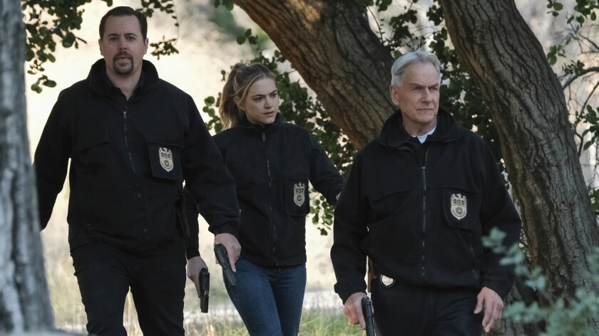 """The CBS drama """"NCIS"""" returned to the top of the ratings with Sean Murray, left, Emily Wickersham and Mark Harmon."""
