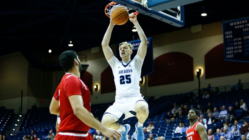 USD forward Yauhen Massalski hangs from the rim after a dunk in the first half against Hartford.
