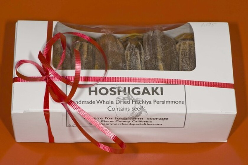 Hachiya persimmons, grown and dried in a traditional Japanese process to become hoshigaki, by Jeff Rieger of Penryn Orchard Specialties, sold at the Santa Monica Wednesday farmers market.