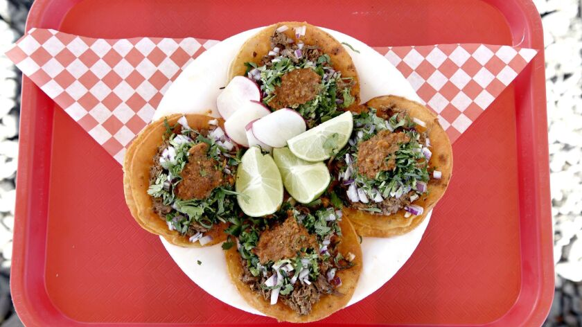 Red birria tacos from Teddy's Red Tacos