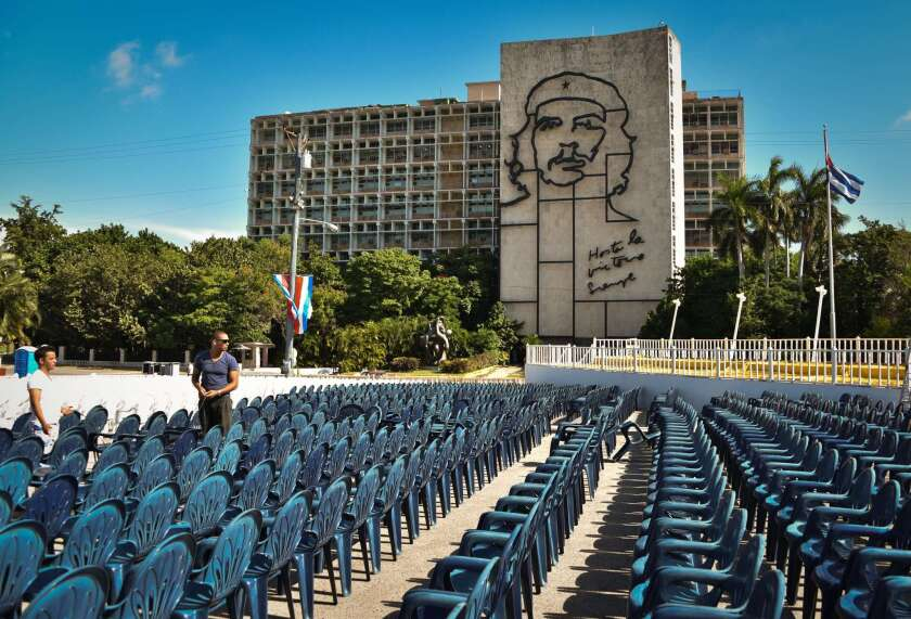 View of Revolution Plaza in Havana on Friday, where Pope Francis is due to celebrate Mass on Sunday.