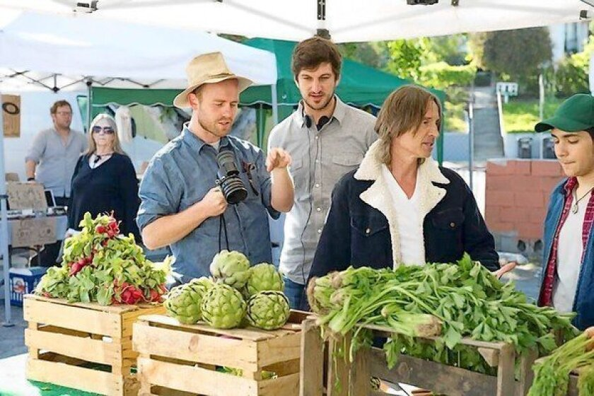 """Independent film """"California Solo"""" stars Robert Carlyle, second from right, as an ex-British pop rocker with a troubled past who moves to L.A. and takes up organic farming."""