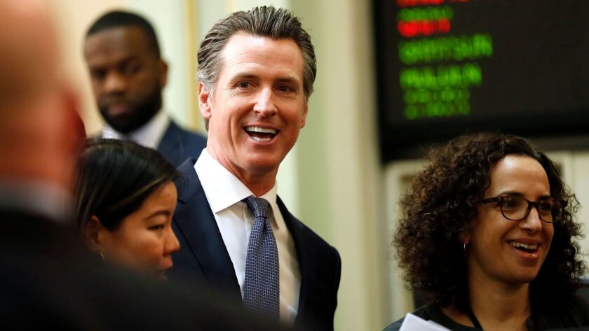 Gov. Newsom after delivering his first State of the State address in Sacramento, Calif. on Feb. 12.