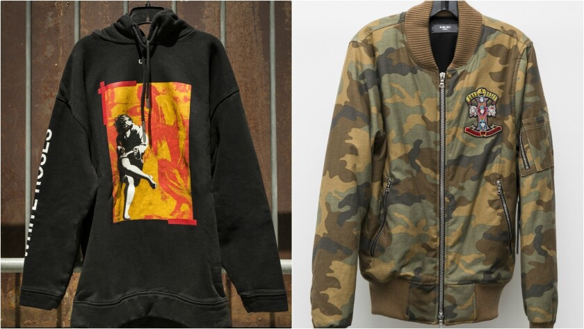 At left, a sweatshirt by Off-White. At right, a camouflage-print bomber jacket by Amiri.
