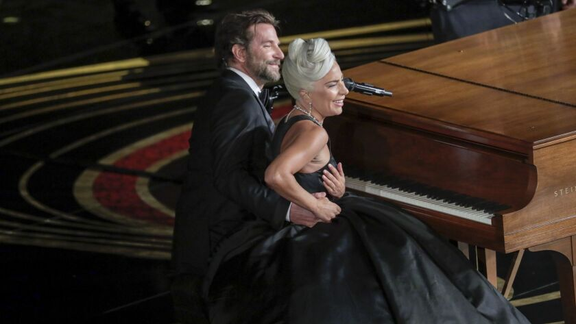 Bradley Cooper and Lady Gaga during the telecast of the 91st Academy Awards on Sunday.